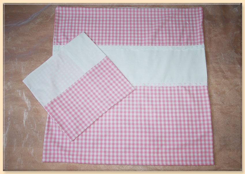 100 baumwolle rosa wei mit spitze f r stubenwagen oder wiege karo. Black Bedroom Furniture Sets. Home Design Ideas