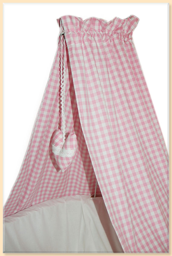 himmel mit spitze f r stubenwagen oder wiege baldachin rosa karo aus baumwolle ebay. Black Bedroom Furniture Sets. Home Design Ideas