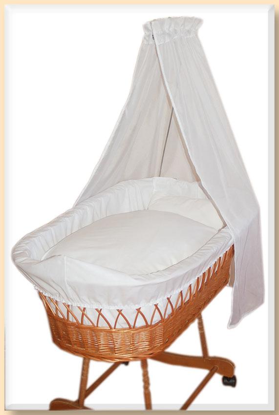 bettw sche aus baumwolle in wei deckenbezug kissenbezug f r stubenwagen u wiege ebay. Black Bedroom Furniture Sets. Home Design Ideas